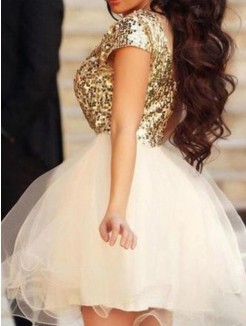 Princess Sleeveless Scoop Sequin Tulle Short/Mini Homecoming Dresses