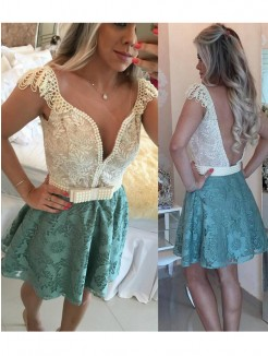 Princess Sleeveless V-neck Beading Lace Short/Mini Party Dresses