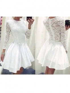 Princess Long Sleeves Scoop Lace Chiffon Short/Mini Fashion Dresses