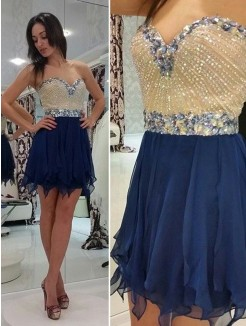 A-Line Sleeveless Sweetheart Beading Chiffon Short/Mini Prom Dresses