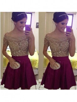 A-Line Short Sleeves Off-the-Shoulder Beading Satin Short/Mini Prom Dresses