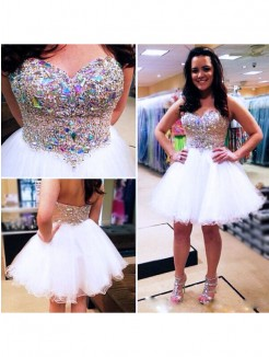 A-Line/Princess Sleeveless Sweetheart Beading Tulle Short/Mini Prom Dresses