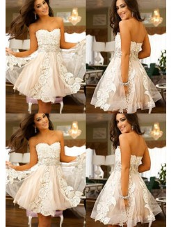 A-Line/Princess Sleeveless Sweetheart Applique Tulle Short/Mini Prom Dresses