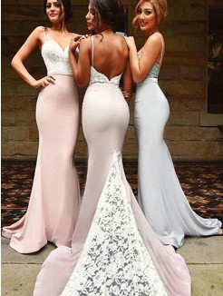 Mermaid Sweetheart Sleeveless Sweep/Brush Train Lace Spandex Bridesmaid Dress