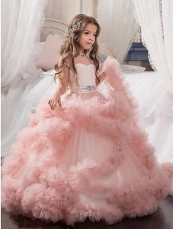 Ball Gown Jewel Short Sleeves Floor-Length Tulle Flower Girl Dresses