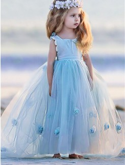 cd87a4ed42 Ball Gown Bateau Sleeveless Hand-Made Flower Floor-Length Tulle Flower Girl  Dresses