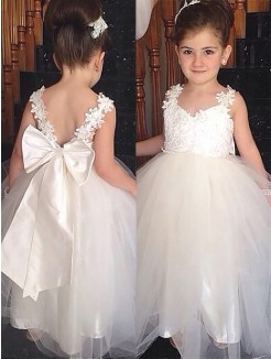 b2be9dfed5 Ball Gown Sweetheart Sleeveless Bowknot Floor-Length Tulle Flower Girl  Dresses