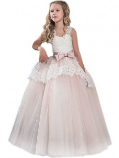 ebd97396a77 Ball Gown Sweetheart Sleeveless Bowknot Floor-Length Tulle Flower Girl  Dresses