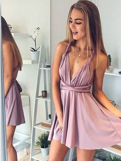 A-Line/Princess V-neck Sleeveless Short/Mini Satin Dresses