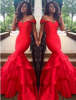 Trumpet/Mermaid Sleeveless Off-the-Shoulder Taffeta Layers Sweep/Brush Train Dresses