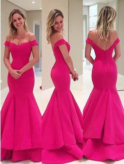 Trumpet/Mermaid Sleeveless Off-the-Shoulder Satin Layers Sweep/Brush Train Dresses