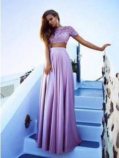 A-Line/Princess Bateau Short Sleeves Satin Floor-Length Lace Two Piece Dresses