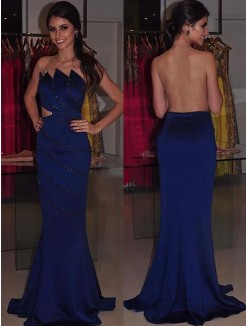 Sheath/Column Strapless Sleeveless Beading Sweep/Brush Train Satin Dresses
