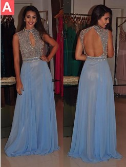 A-Line/Princess High Neck Sleeveless Sweep/Brush Train Beading Chiffon Dresses