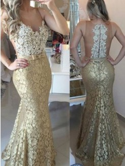 Mermaid Sleeveless Lace Applique Sweep/Brush Train dresses