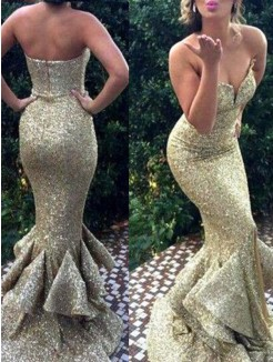 Mermaid Sweetheart Sleeveless Sweep/Brush Train Sequins Dresses