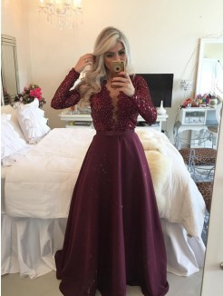 A-Line Scoop Long Sleeves Sequin Floor-Length Satin Dress
