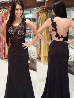 Sheath Scoop Sleeveless Lace Floor-Length Chiffon Gown