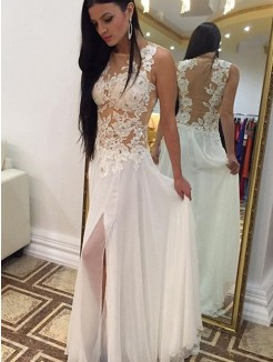 A-Line Scoop Sleeveless Floor-Length Applique Chiffon Gown