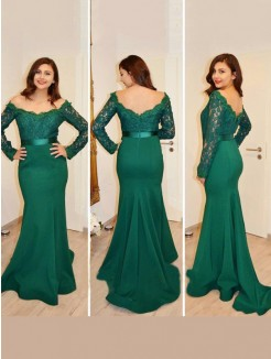 Mermaid Off-the-Shoulder Long Sleeves Applique Floor-Length Satin Dress