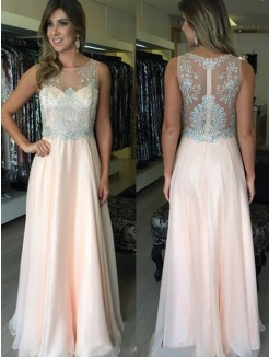 A-Line Scoop Sleeveless Beading Floor-Length Chiffon Gown
