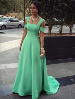 A-Line Straps Sleeveless Floor-Length Satin Dress