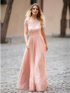 A-Line Scoop Sleeveless Applique Floor-Length Chiffon Gown