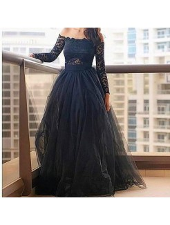 A-Line Off-the-Shoulder Long Sleeves Lace Floor-Length Tulle Dress