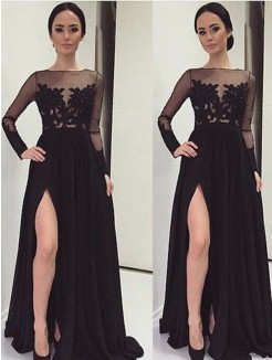 A-Line Bateau Long Sleeves Lace Floor-Length Chiffon Gown
