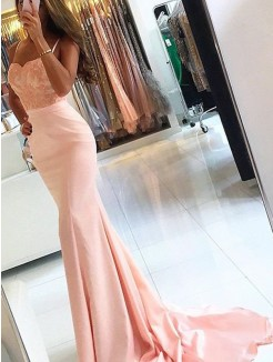 Mermaid Spaghetti Straps Sleeveless Sweep/Brush Train Satin Dress