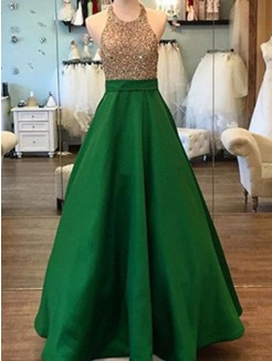 A-Line Sleeveless Floor-Length Halter Beading Satin Dress