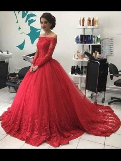 Ball Gown Off-the-Shoulder Long Sleeves Lace Tulle Sweep/Brush Train Dresses