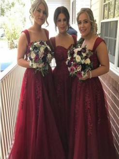 A-Line/Princess Sleeveless Straps Applique Floor-Length Tulle Bridesmaid Dresses