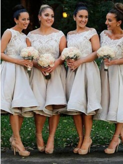A-Line/Princess Off-the-Shoulder Sleeveless Elastic Woven Satin Knee-Length Bridesmaid Dresses