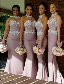 Trumpet/Mermaid Halter Sleeveless Satin Floor-Length Bridesmaid Dresses