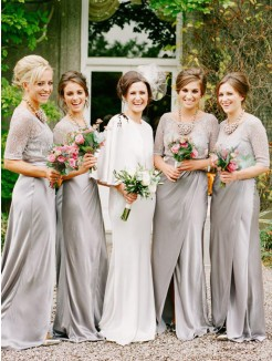 A-Line/Princess Scoop 1/2 Sleeves Floor-Length Satin Bridesmaid Dresses