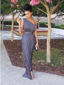 Sheath/Column One-Shoulder Sleeveless Floor-Length Jersey Bridesmaid Dresses