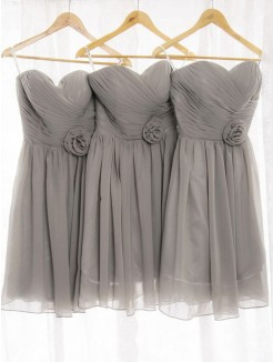 A-Line/Princess Sweetheart Sleeveless Chiffon Short/Mini Bridesmaid Dresses