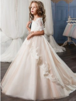 Ball Gown Off-the-Shoulder Short Sleeves Tulle Sash/Ribbon/Belt Flower Girl Dresses