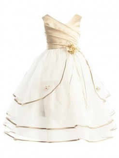 A-line/Princess V-neck Sleeveless Tulle Ankle-Length Flower Girl Dresses