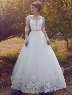 Ball Gown Bateau Tulle Long Sleeves Floor-Length Wedding Dresses