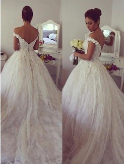 Ball Gown Sleeveless Off-the-Shoulder Lace Court Train Wedding Dresses