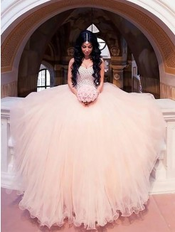 Ball Gown Sleeveless Beading Tulle Sweetheart Sweep/Brush Train Wedding Dresses