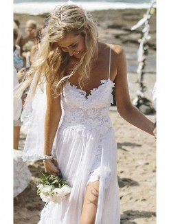 Sheath/Column Spaghetti Straps Floor-Length Chiffon Beach Wedding Dress With Applique