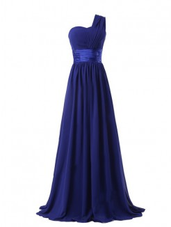 A-line/Princess Sleeveless One-shoulder Ruffles Floor-length Chiffon Dress