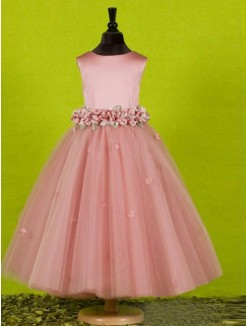A-line/Princess Scoop Sleeveless Floor-length Tulle Flower Girl Dress With Bowknot