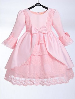 A-line/Princess Scoop 3/4 Sleeves Floor-length Satin Flower Girl Dress With Bowknot
