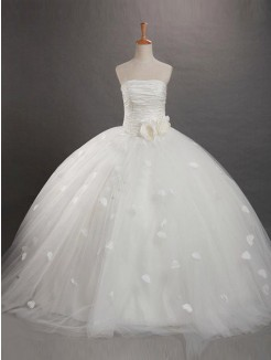 Ball Gown Organza Sleeveless Strapless Ruffles Floor-length Flower Girl Dresses