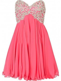 Short/Mini A-line/Princess Sweetheart Sleeveless Beading Chiffon Dress