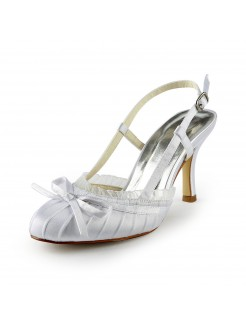 Pretty Satin Stiletto Heel Sandals Closed Toe With Buckle Wedding Shoes